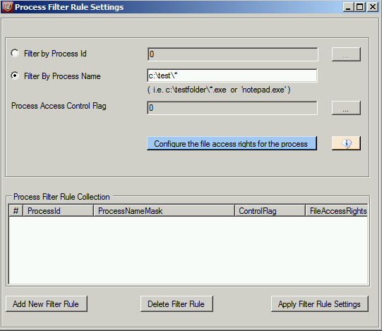 Process Filter Rule Setting